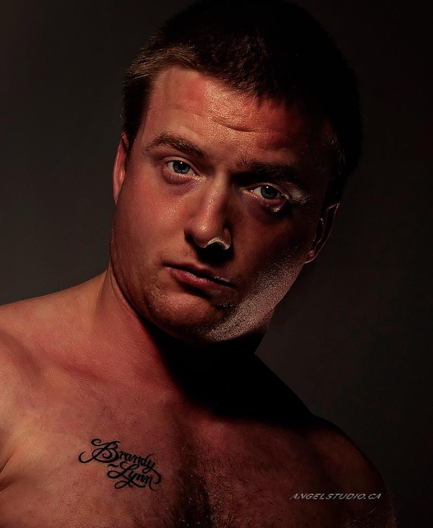 male glamour, studio glamour, male nude implied headshot