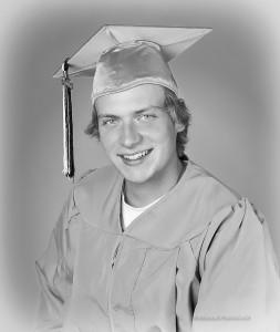 graduation headshot, monochrome, b&w