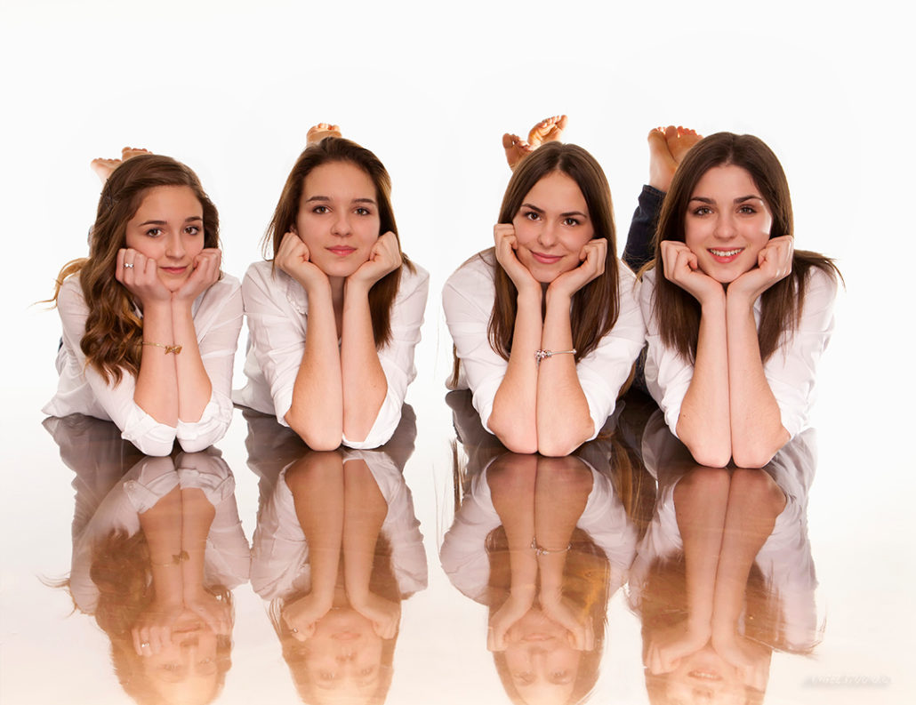 high key portrait, studio portrait, 4 sisters portrait